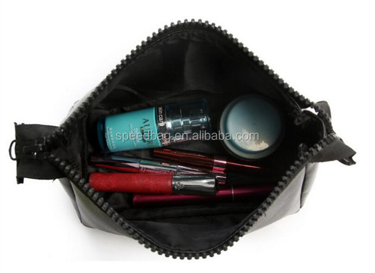 customize korean black leather nylon beauty cosmetic bag