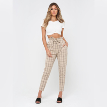 New Arrival High Waist Slim Thin <strong>Trousers</strong> Plaid Cotton <strong>Pants</strong>