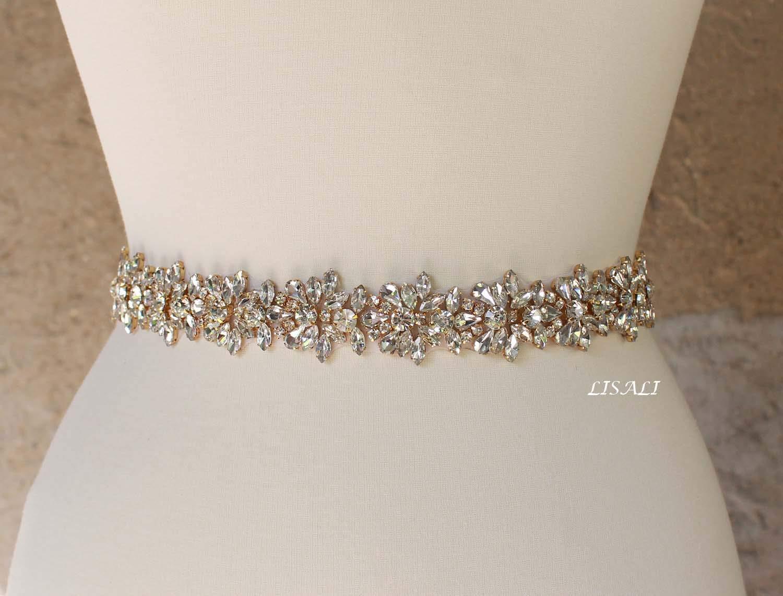 LISALI Sparkly Wedding Belt, Gold Rhinestone Belt, Bridal Belts, Rhinestone Chain Belt, Crystal Sash Belt, Wedding Dress Belts Crystal
