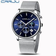 Мужские часы лучший бренд CRRJU новые роскошные модные спортивные кварцевые часы мужские военные стальные водонепроницаемые деловые часы ...(Китай)