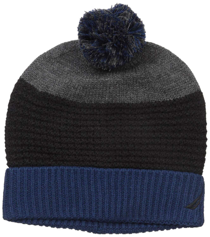 1b41418bb3f47 Get Quotations · Nautica Men s Color Block Texture Cuff Hat