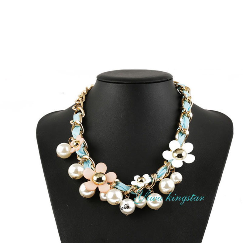 Get Quotations · Fashion Flower White Pearl Pendants 38CM Chain Choker  Necklace Maxi Necklaces For Women Wholesale Pingente Summer 458e8964ca39