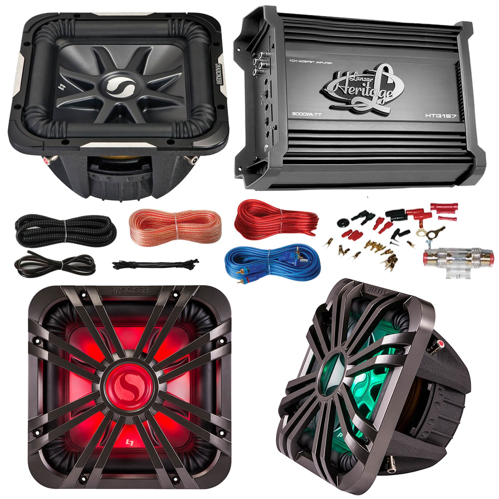 """Car Subwoofer And Amp Combo: Kicker 11S10L74 10"""" Audio Subwoofer Speaker + 10"""" Charcoal Grill With LED Lighting + Lanzar 2000W Mono Block Stereo Amplifier + 8 Gauge Marine Amplifier Installation Kit"""