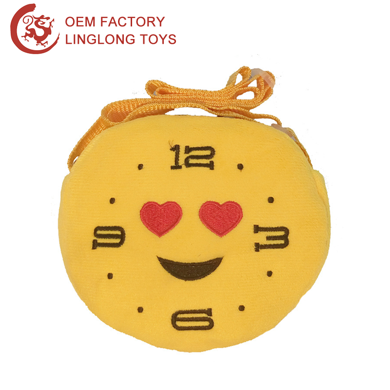 Birthday Girl Gift Whatsapp Emoji Change Pouch Embroidery Clock Shape Coin Pouch With Strap Plush Emoji Shoulder Bag