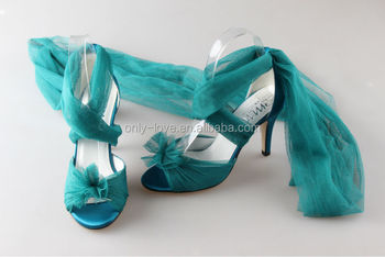 BS869 Teal Bridal Wedding Shoes Party Evening