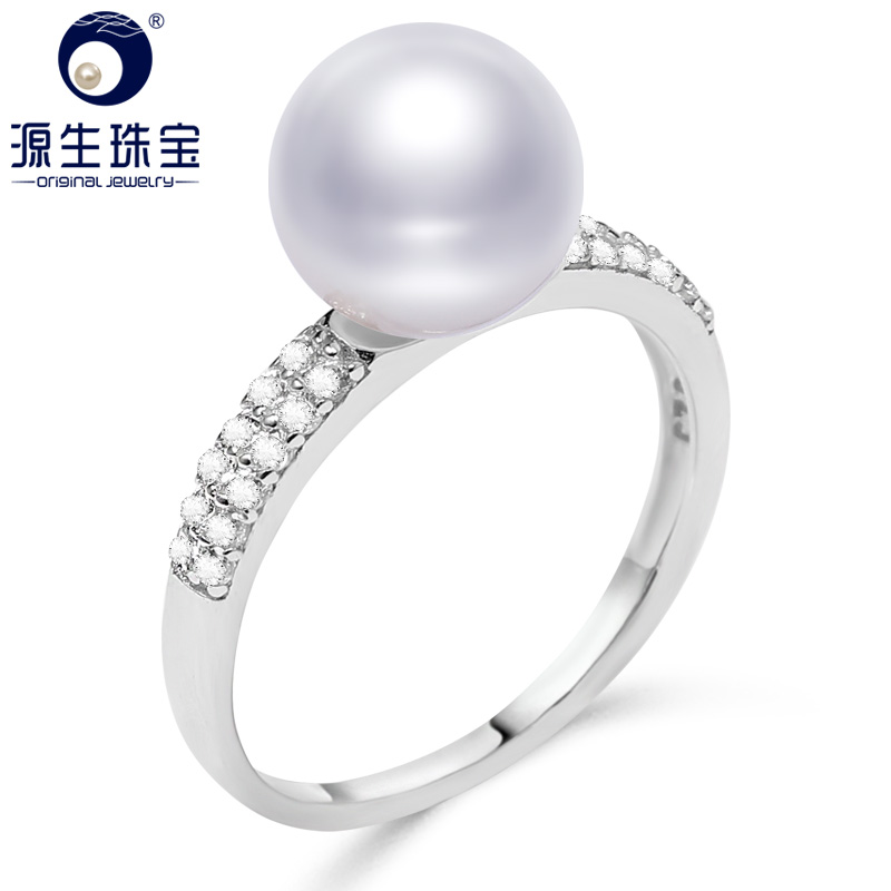 925 Sterling Silver Ring 8-9 mm White/Purple Natural Freshwater Pearl Ring For Women