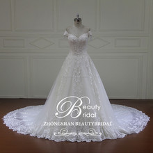hot sale off shoulder design luxury beadind on bodice princess ball gown bridal wedding dress