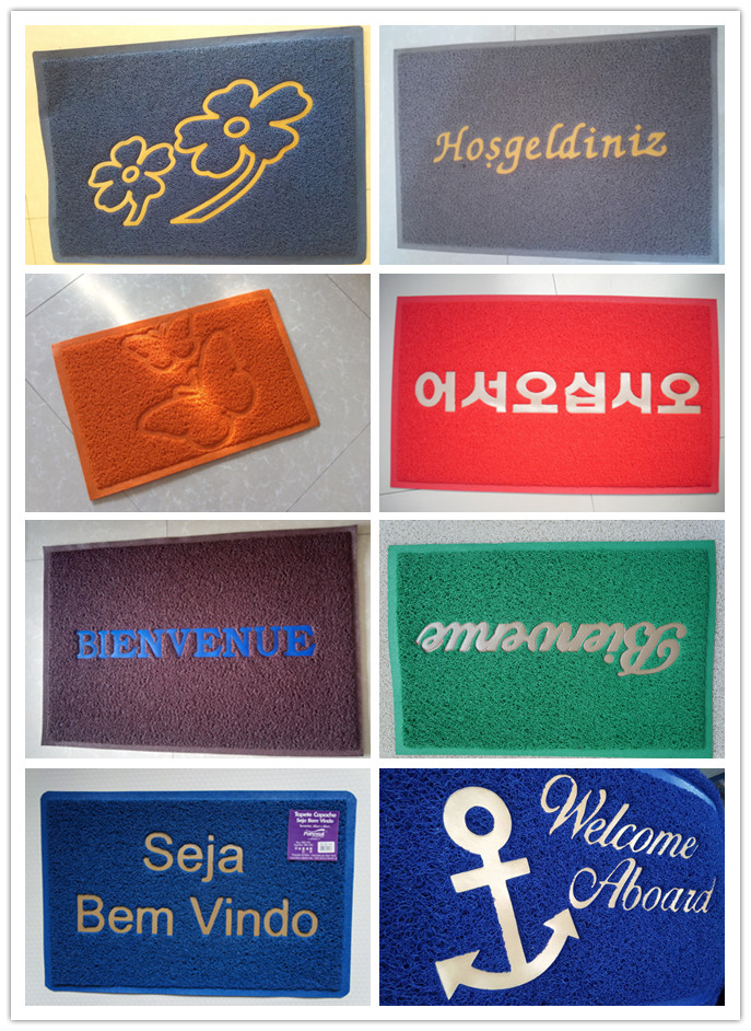 12mm 15mm thickness korea logo pvc door welcome cushion mat