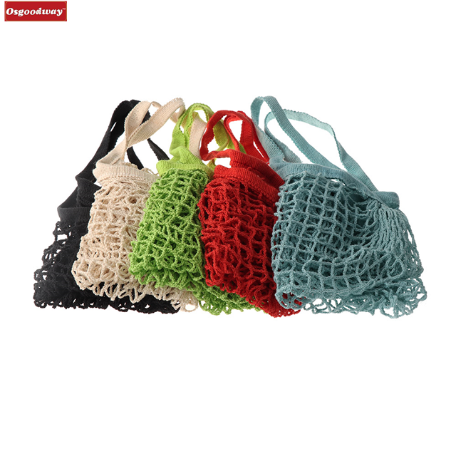 Osgoodway18 New Reusable Solid Shopping Bag String Grocery Bag Shopper Cotton Tote Mesh Net Woven Portable Durable Shopping Bag