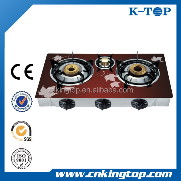 Wholesale red Glass panel 3 burners gas stove, gas burenr, gaz cooker