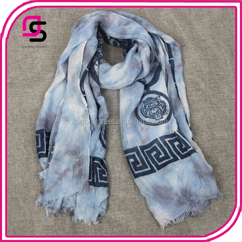 China factory hot selling fashion tie-dye tiger head geometric pattern scarf shawl