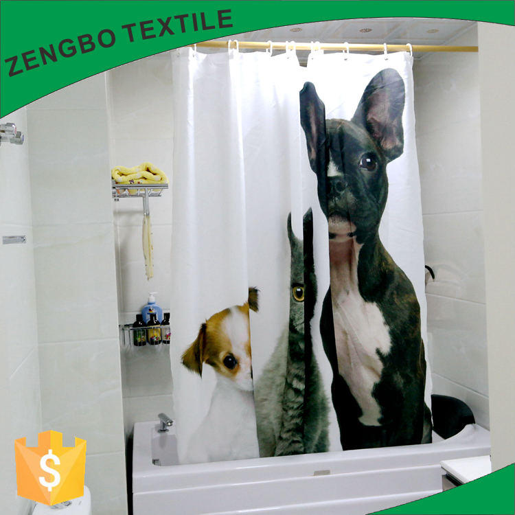 Polyester kids bath cartoon shower curtain custom bathroom curtains