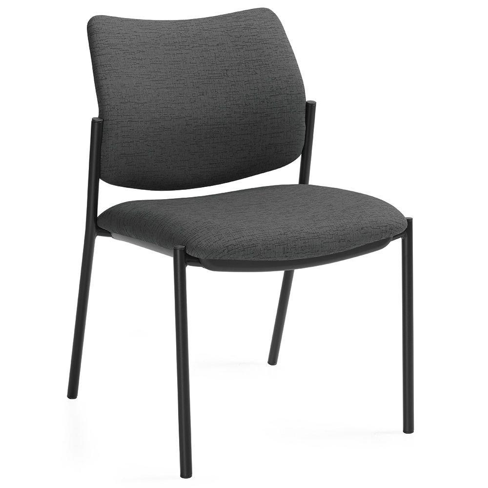 "Sidero Armless Fabric Stack Chair Granite Rock Fabric/Black Steel Frame Dimensions: 21""W x 24""D x 33""H Seat Dimensions: 19.5""Wx18""Dx17.5""H Back Dimensions: 19.5""Wx16""H Weight: 26 lbs"
