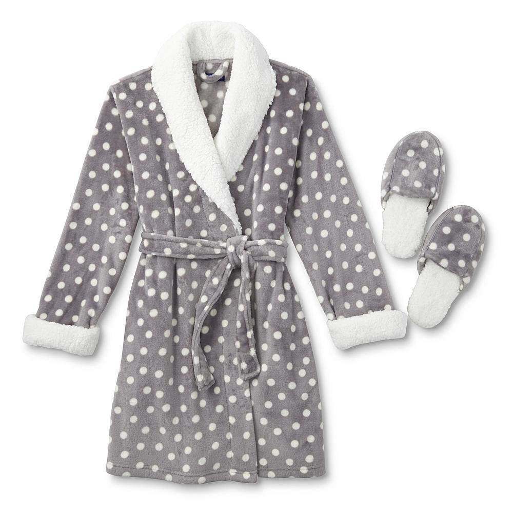 Get Quotations · Simply Styled Women s Polka Dot Fleece Robe   Slippers 28ac32b7d