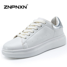 New 2015 Women Shoes Leather Fashion Wedge Sneakers Women Trainers White Sport Shoes Woman Flats Zapatillas Mujer