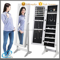 YL3023 Antique Luxury Mirrored Wooden Floor Standing Jewelry Cabinet Box with Full Length Mirror White