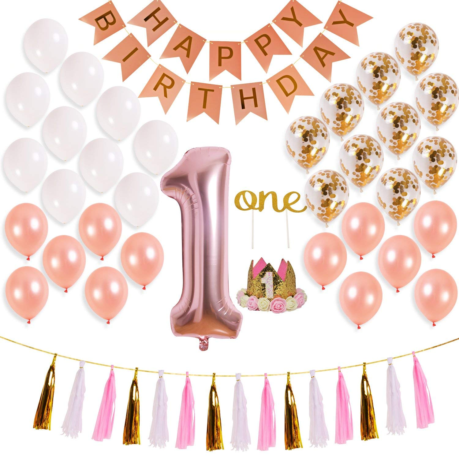 Get Quotations Rose Gold 1st Birthday Girl Outfit For Babys First Decorations1st Baby 40