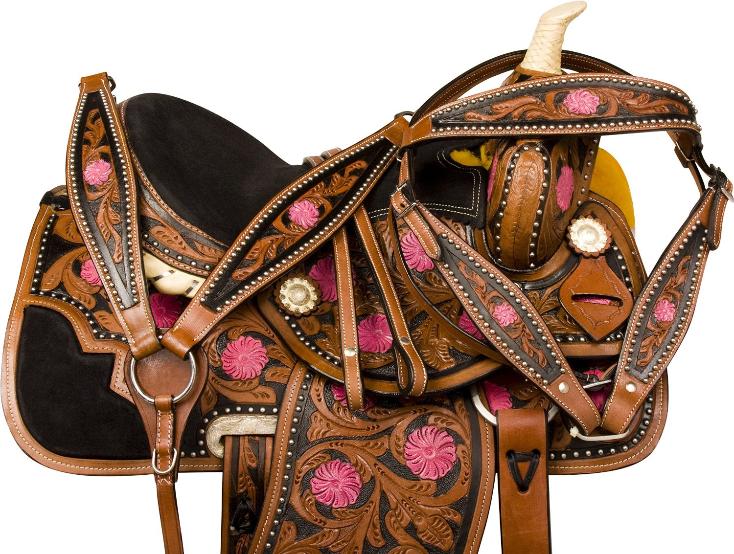 Buy PINK BARREL RACING RACER WESTERN LEATHER HEADSTALL BRIDLE BREAST