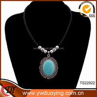 Fashion Jewelry New Products High Quality Turquoise Pendant Leather Necklace