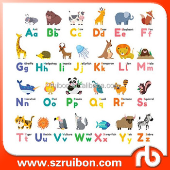 Colourful Animal Alphabet L And Stick Nursery Kids Wall Decals Stickers Cartoon Animals