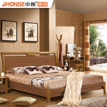 Simple Antique Style Bedroom Furniture Wooden Double Beds