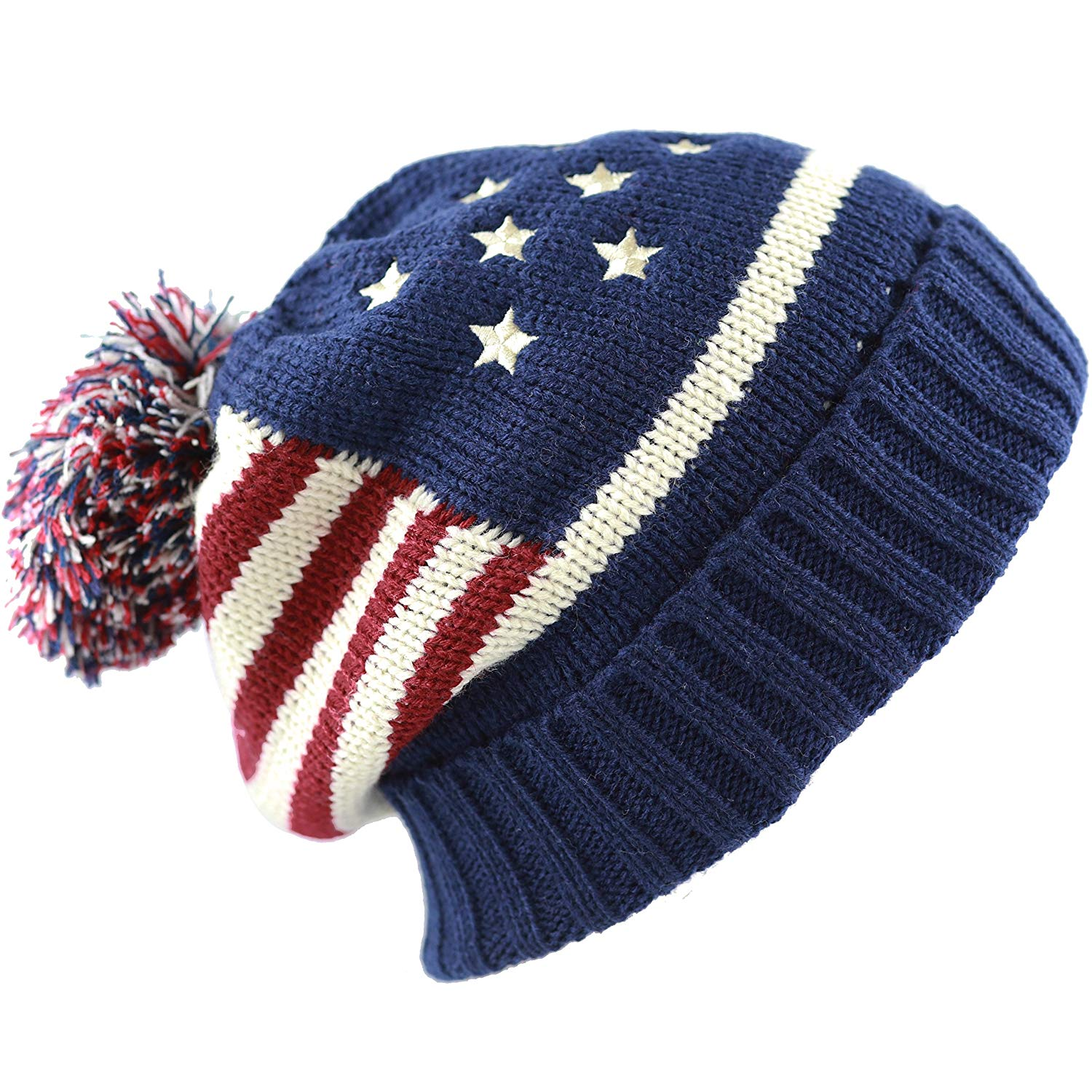 34f3204d Get Quotations · The Hat Depot 900 American Flag Thick Knit Beanie with Pom  Pom Winter Hat -1Color