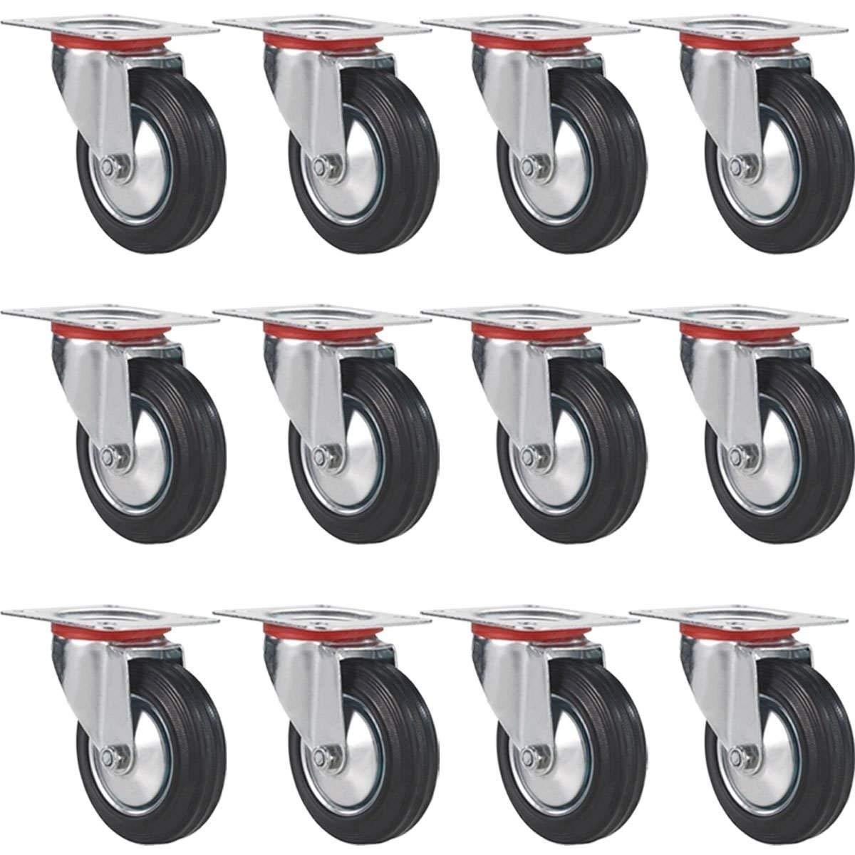 "FactorDuty 12 Pack 5"" Swivel Caster Wheels Rubber Base with Top Plate & Bearing Heavy Duty (5"" no brake)"