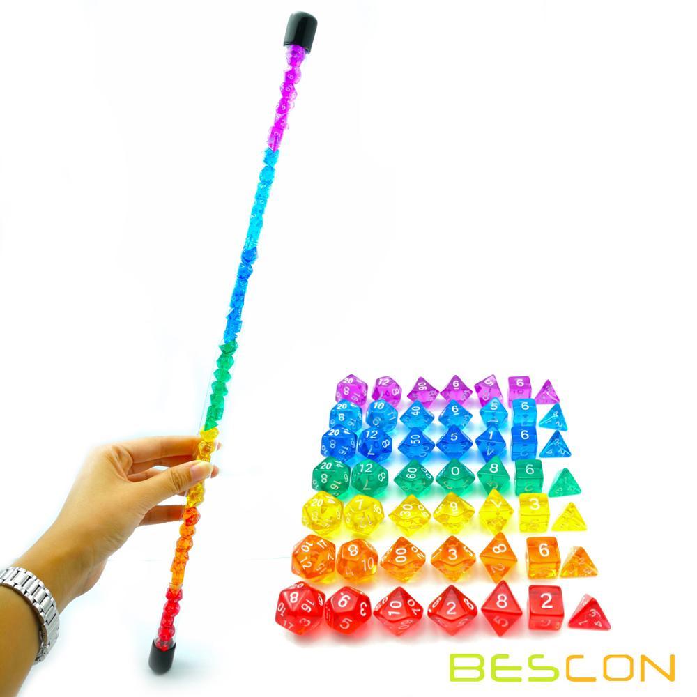 Bescon 49pcs Rainbow Gem Mini Polyhedral Dice Set in Long Tube, Rainbow Dungeons and Dragons RPG Dice 7X7pcs, Mini Gem Dice Set фото