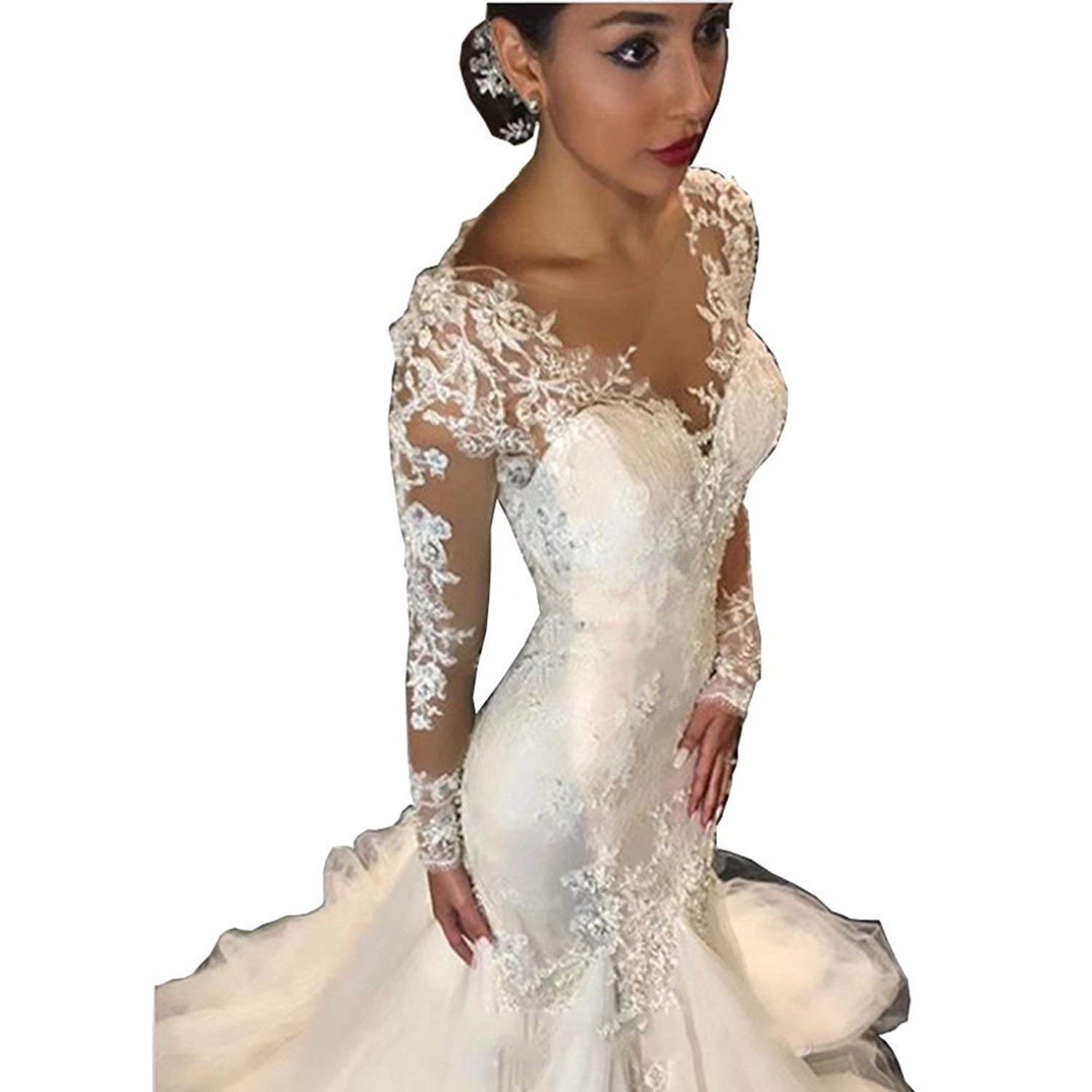 550c449829fac Get Quotations · Yilian Elegant Lace Mermaid Wedding Dresses for Bride 2018 Long  Sleeves Beaded Crew Neck Luxury Wedding