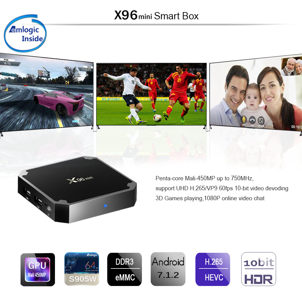 Original X96mini del logotipo del OEM amlogic S905W 2 GB RAM 16 GB ROM Android 7,1 de 1080 p Full HD Video Smart internet Tv Set Top Box