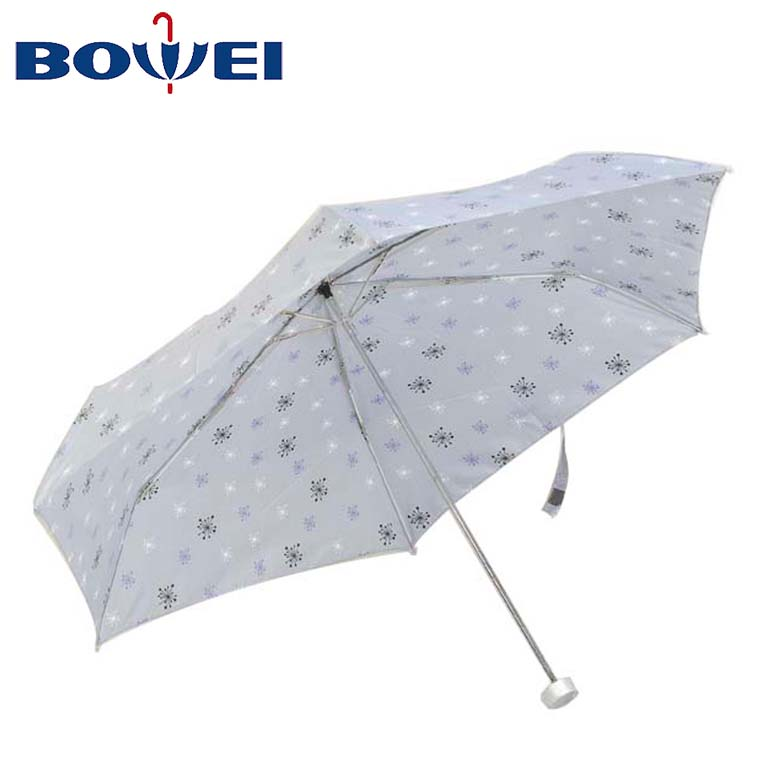 Customized three fold Metal pole umbrellas with simple print