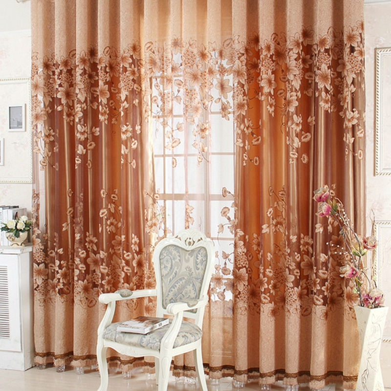 Luxurious Upscale Jacquard Yarn Curtains Tulle Voile Door Window Curtains Living Room Bedroom Decor Free shipping FULI