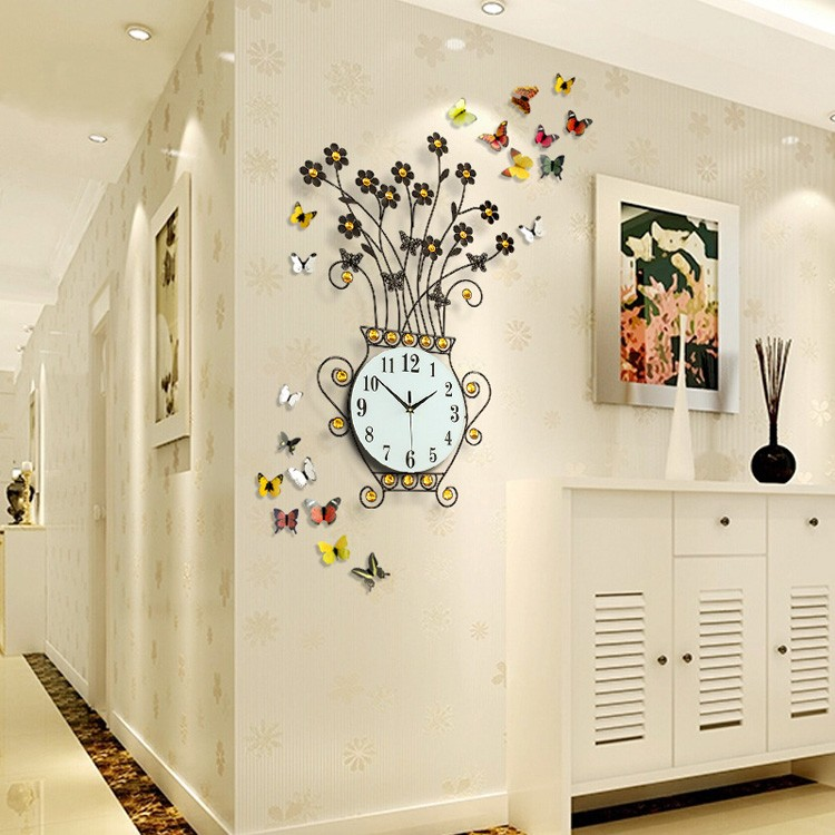 china exquisita artisti florero grande en forma de metal negro reloj de pared para la decoracin