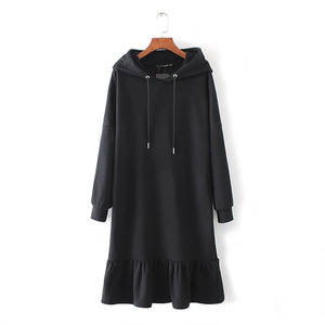 New European long loose black hoodie dress with hood for fashion girl
