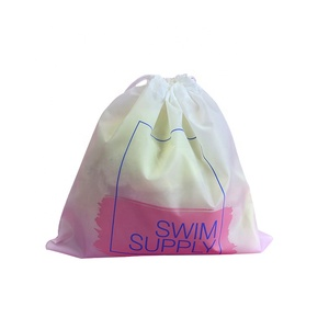Good quality fashion design custom print logo waterproof polyester nylon drawstring bag for shoes,clothes