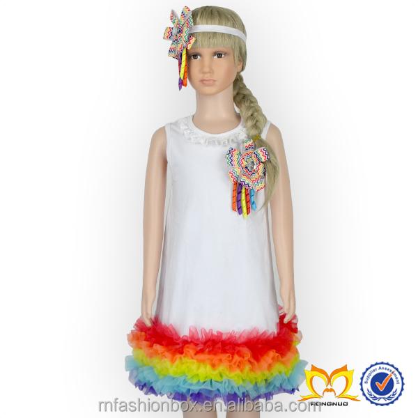 b97551b27 أحدث موضة فساتين القطن مع الشيفون كشكش الطفل تصميم فستان 2016 صورة جديدة  ليتل بنات صيف
