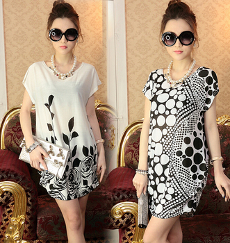 d47933a 2016 Summer printed retro Cotton T-shirt + skirt 2pcs women clothes dress