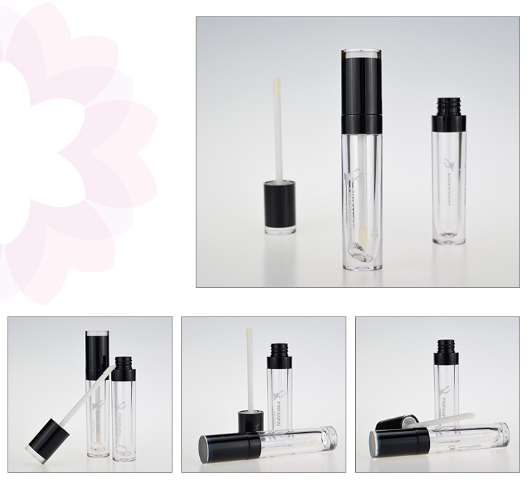 OEM/ODM screw-on cap cosmetic packaging round lip gloss tubes with wands