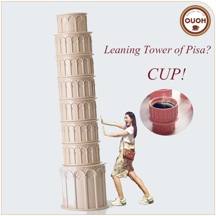New Products On China Market Souvenir Italian Pisa Laeaning Tower Stackable Cup Bulk Christmas Gift Wholesale