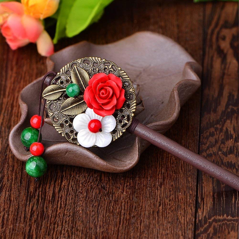usongs Yunnan ethnic characteristics wind vintage jewelry first hairpin Chinese clothing hand-classical palace step shake dish made hairpin