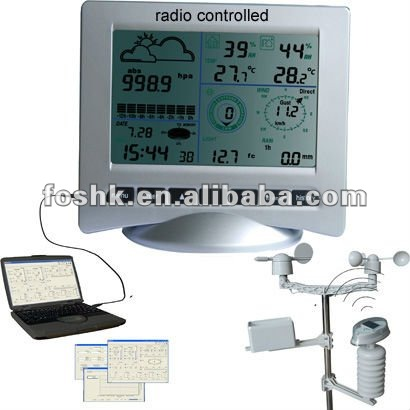 Radio controlled clock weather station equipment with LCD display
