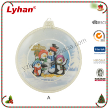 glass christmas inflate ball happy penguin decals for Christmas tree ornament