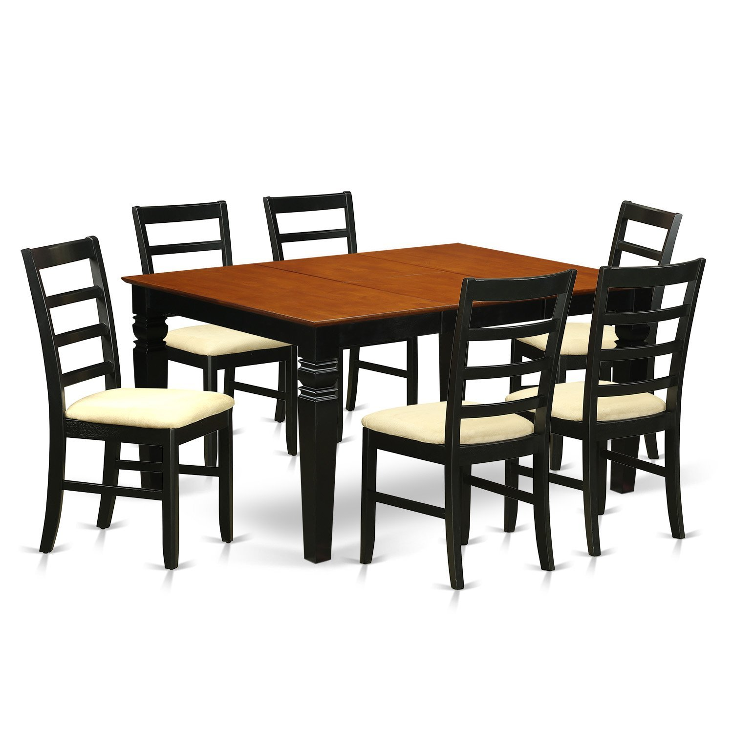 East West Furniture Weston WEPF7-BCH-C 7 Pc Dining Set with a Dinning Table and 6 Kitchen Chairs, Black
