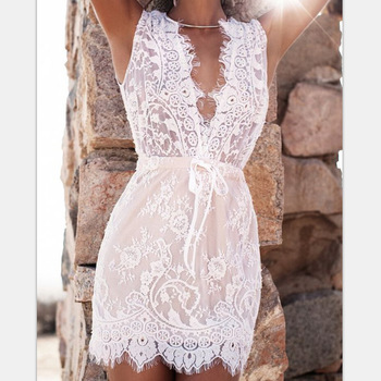 f57732c1762fe Robe d'été une pièce robe gilet sans manches en dentelle blanche cintrée  taille courte
