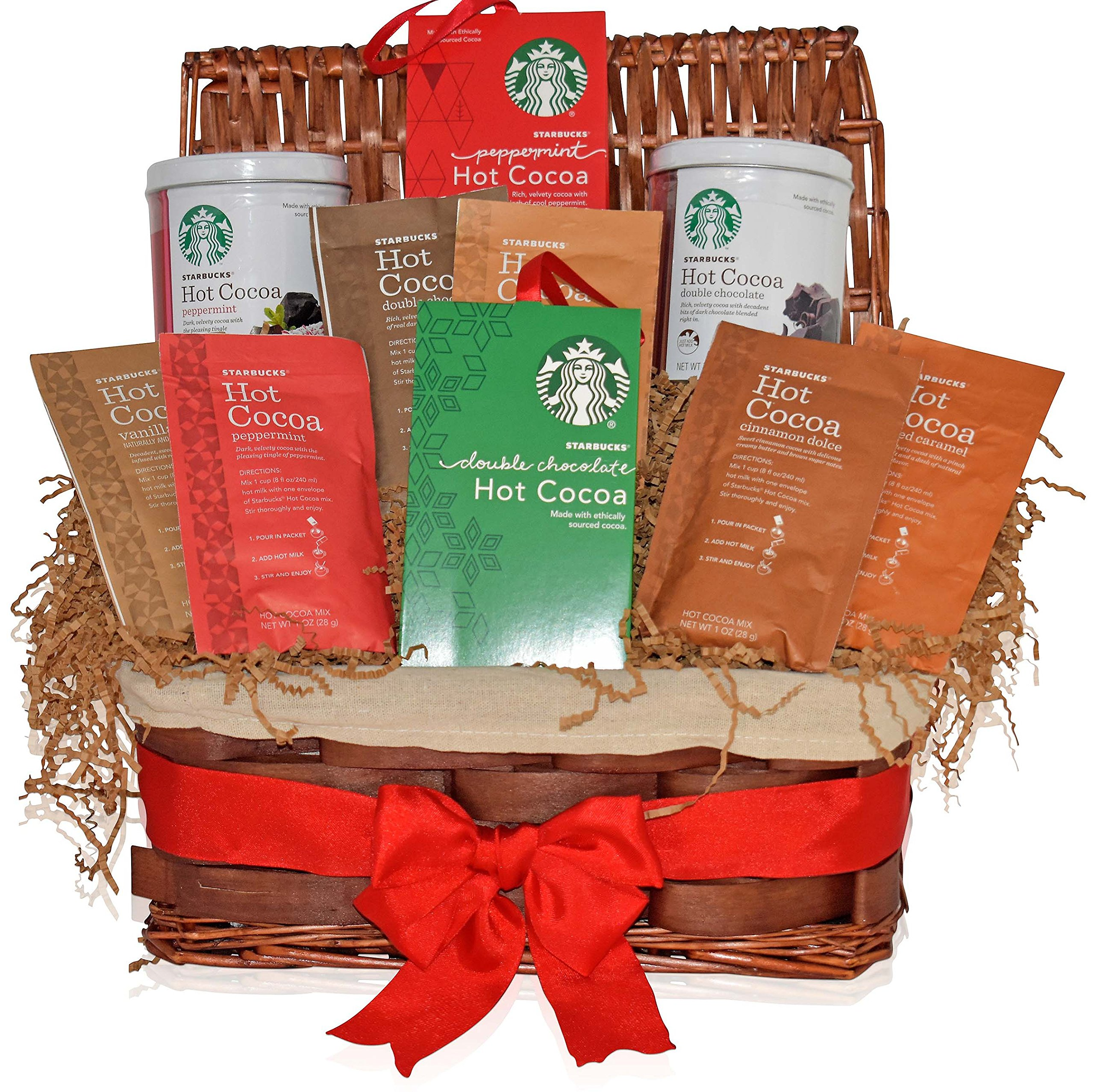 Starbucks Occasional Gift Basket - Gifts for Mother's Day - 6 Different Hot Cocoa Flavors - Peppermint, Double Chocolate, Salted Caramel, Marshmallow and more - Gifts for Family, Friends, Coworkers