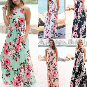 Summer Beach Hot Sale Long Skirts With Pockets O Neck Printing Tank Maxi Dress
