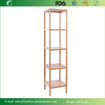 Bamboo Bathroom Tower 5-shelf Towel Storage Standing Rack Shelving ...