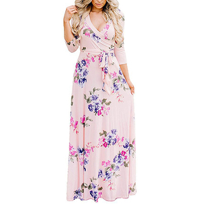 Best Quality Casual Fashion Light Pink Floral Printed Long Maxi Dress