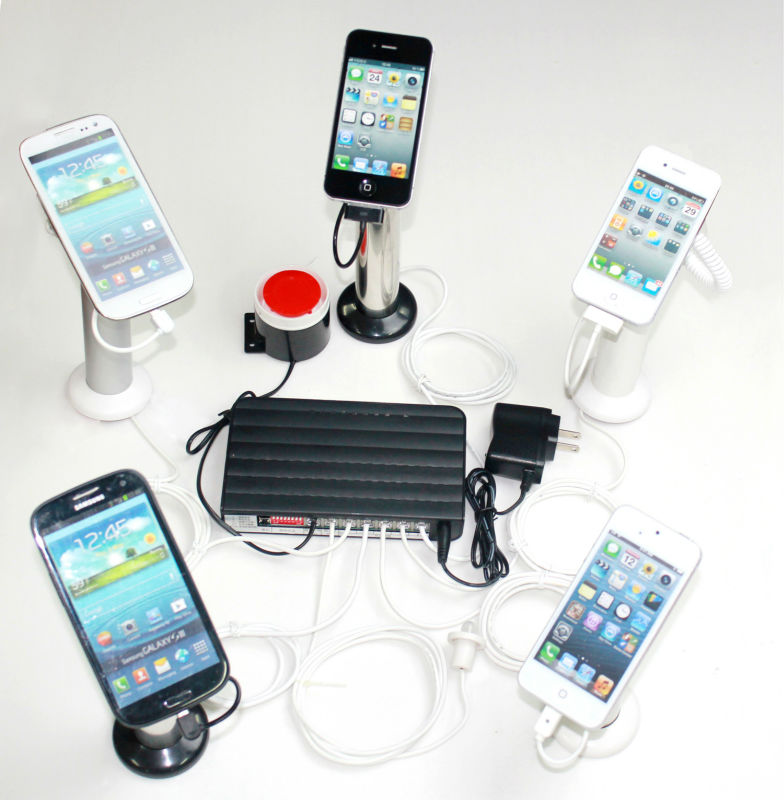 plastic mobile display stand 5 port security alarms charging device for any brand cell phone