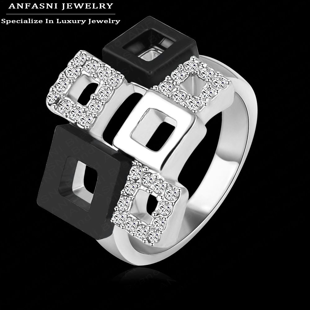 Best Selling Items Square Rings Unique Design Real 18K Rose Gold Genuine SWA Stellux Austrian Crystal